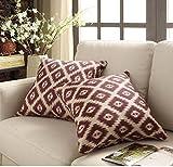 2 Piece Red 20x20 Diamond Pattern Throw Pillows, Ikat Jacquard Diamonds Pattern Southwest Theme Geometric Stripe Medallion Square Pillow Cushion Headrest Sofa Couch Soft Plush, Polyester