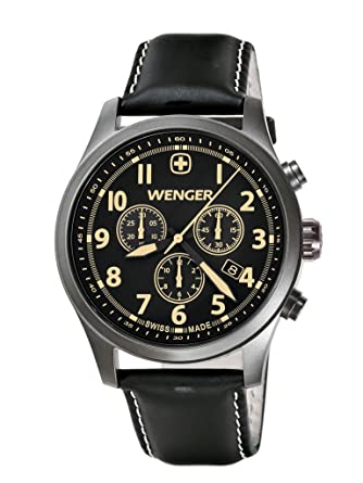 Wenger Terragraph Chrono Mens Quartz Watch with Black Dial Analogue Display and Black Leather Strap 010543104