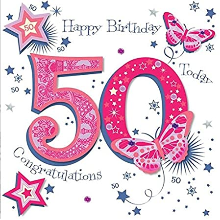 8x8 Large Talking Pictures 50th Birthday Card Female Pink With