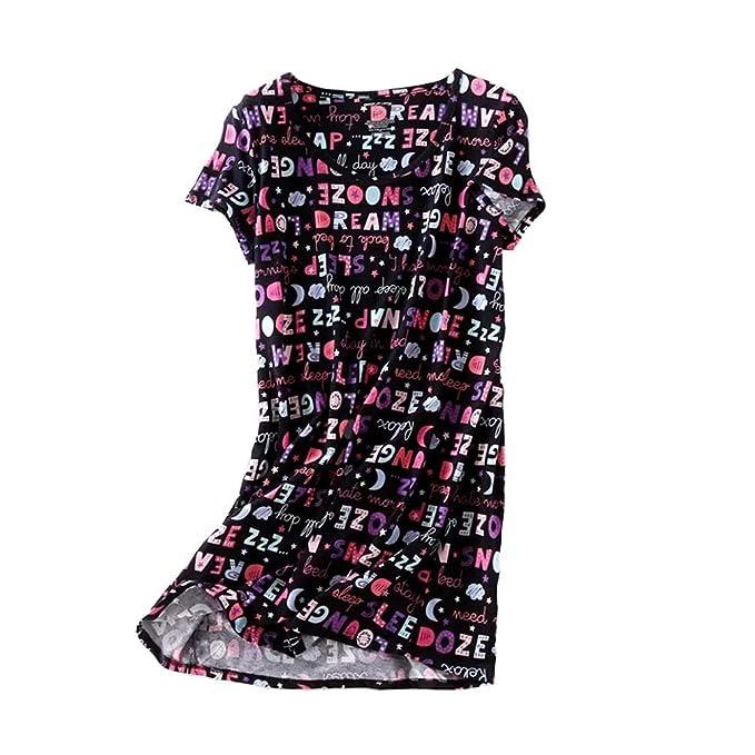 047e6134b1 ENJOYNIGHT Women s Sleepwear Cotton Sleep Tee Short Sleeves Print  Sleepshirt (Small