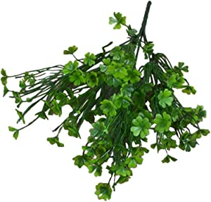 BESTOYARD 1PC Simulated Green Plants Decor Realistic Four Leaf Clover Decorations Interior Exterior Decorative Flowers Household Arrangements for Wedding Festival Decor (Green) for Party Suulies