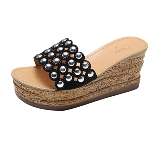df39883361be95 Lolittas Women Black Wedge Sandals Shoes