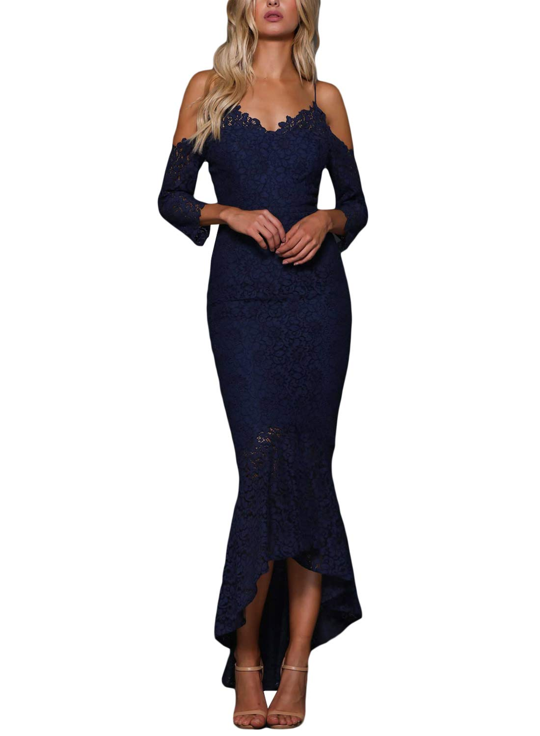 ROSKIKI Womens High Low Bodycon Mermaid Spaghetti Straps Sexy Cocktail Evening Dresses 3/4 Sleeve Bare Shoulder Formal Homecoming Dresses Navy Blue S