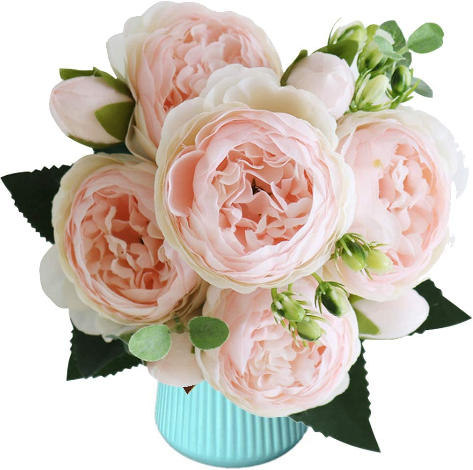 Decor 5 Heads Peonies Artificial Flowers Silk Peony Arrangement Bouquet for Wedding Centerpiece Room Office Party Home Decoration Flower Elegant Vintage Vlog Peonies 5 Heads 4 Buds Pack of 1 (Pink)