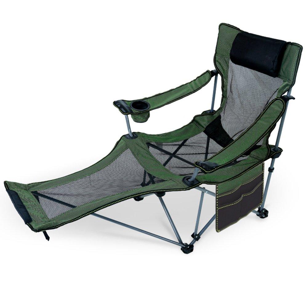 HM&DX Tragbare Outdoor Klappstühle Liegender Camping Stühle Mit Fußablage Kompakt Liege Für Camping Wandern Strand Angeln Garten
