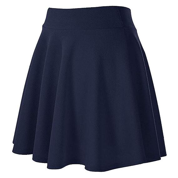 Covermason Falda Mujer Mini Corto Elástica Plisada Básica ...