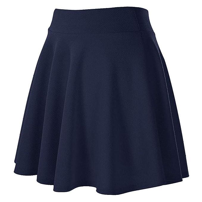 Faldas Cortas Volantes Kawaii, Banda elástica de Color sólido de ...
