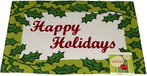 Holiday Happy Door Mat Green Holly Border Throw Accent Rug