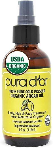 PURA D'OR Organic Golden Jojoba Oil (4oz) USDA Certified Premium Grade - 100% Pure & Natural Moisturizer - Cold Pressed, Unrefined, Hexane Free Base Carrier Oil for DIY Skin Care, Hair, Face & Nails