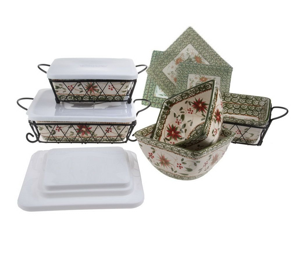 Temp-tations Old World Oven-to-Table Bakeware Set (Old World Poinsettia)