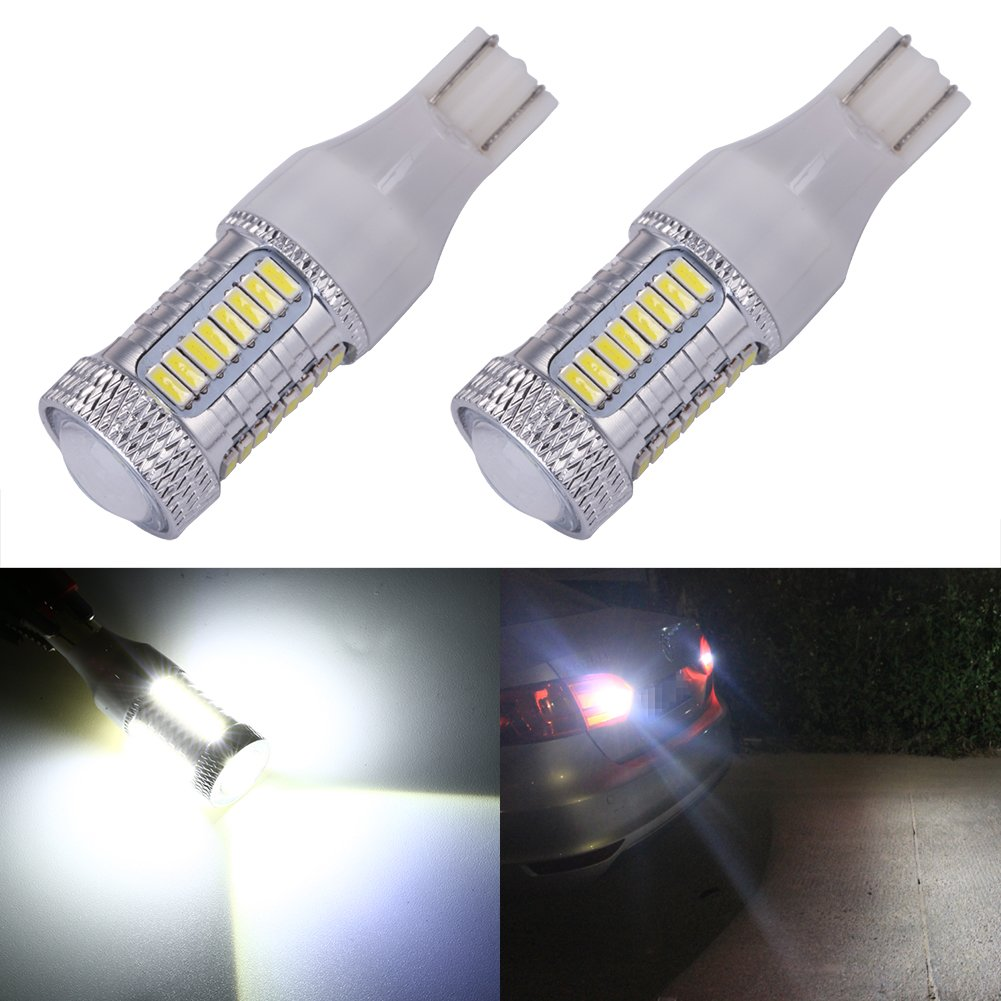 ENDPAGE 1157 2057 2357 7528 BAY15D LED Bulb 2-pack, Xenon White 6000K, Extremely Bright, 21-SMD with Projector Lens, 12-24V, Works as Back Up Reverse Lights, Tail Brake Lights, Turn Signal Blinkers EP-1157-21SMD-2835W2