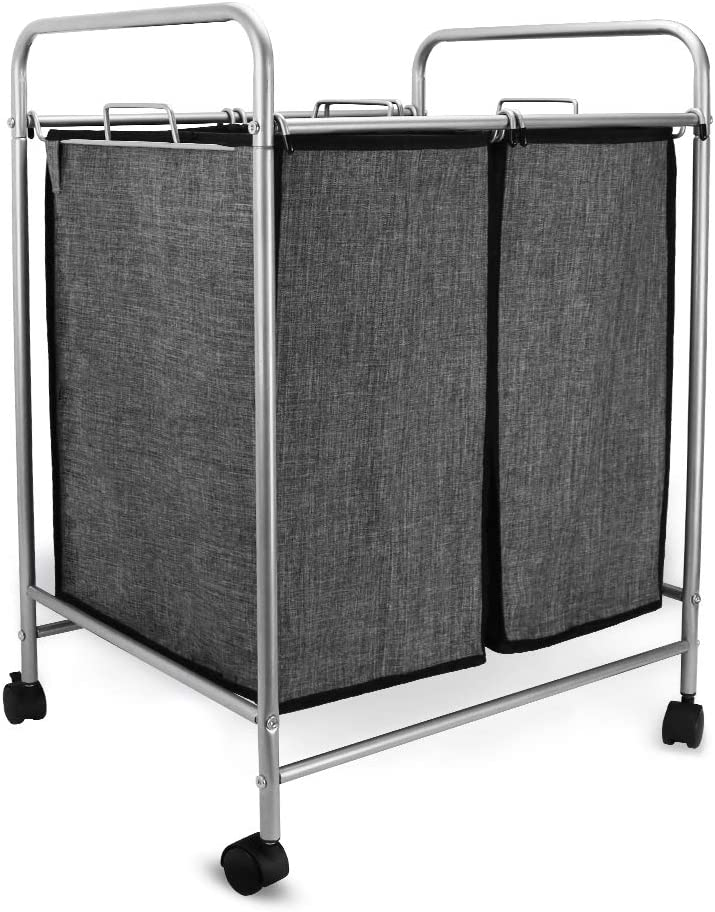 JEFEE 2-Bag Rolling Laundry Sorter Cart Compact Laundry Sorting Hamper with Wheels Mobile Laundry Storage Cart Sturdy with Removable Waterproof Bags, Grey …