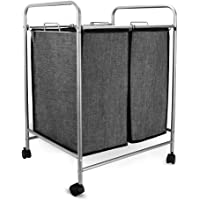 JEFEE 2-Bag Rolling Laundry Sorter Cart Compact Laundry Sorting Hamper with Wheels Mobile Laundry Storage Cart Sturdy…