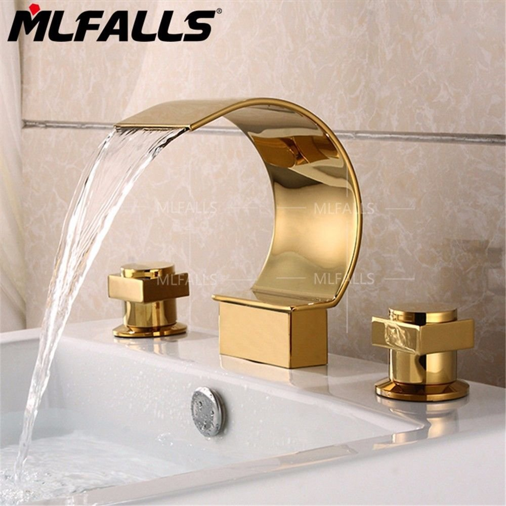 Lpophy Bathroom Sink Mixer Taps Faucet Bath Waterfall Cold and Hot Water Tap for Washroom Bathroom and Kitchen gold-Plated Waterfall, Three-Hole Ceramic Valve