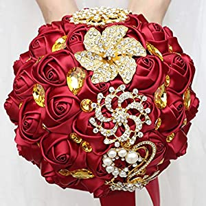 WIFELAI-A Dark Red Wedding Flowers Bridal Bouquets Rhinestone Brooch Flowers Crystal Bride Holding Bouquet White Ivory Satin Roses with Diamond Pearl Ribbon (Dia:8.26inchH:10inch Dark Red W227Q-10) 4