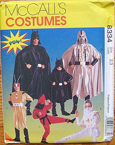 McCall's 8334 Sewing Pattern ~ Superhero Children's Halloween Costumes, Batman, Sizes 2, 3