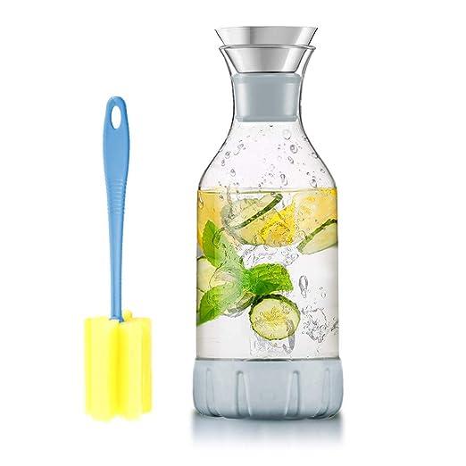 WOQO Jarras de Cristal, jarra de vidrio para jugo caliente / frío, té, leche y café, con elegante posavasos y cepillo de silicona, jarra de agua de ...