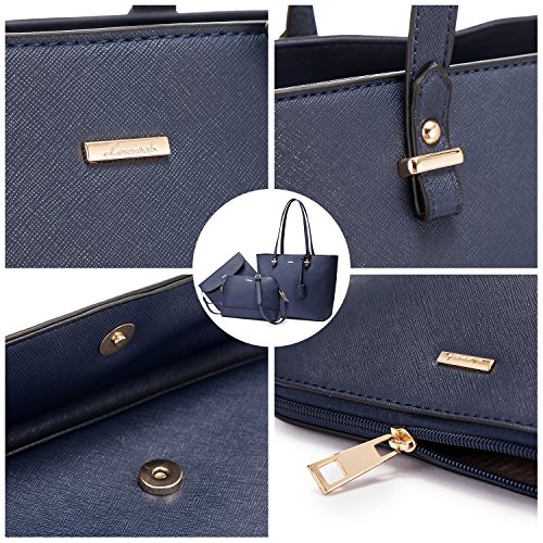 Handle Top Bag Satchel Set 3PCS Handbags Navy Bag for Tote Purse Shoulder Women awaY0qX4
