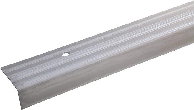 acerto 37673 Perfil angular de escalera de acero inoxidable - 100cm 20x40x15 mm antideslizante I Robusto I De fácil instalación I Perfil de borde de escalera perfil de peldaño de escalera: Amazon.es: