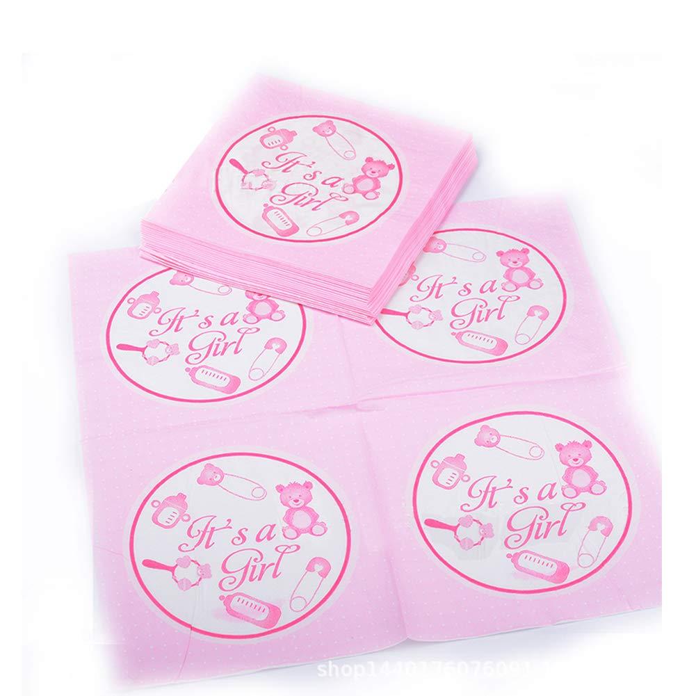 WENTS 100 PCS Mini Schnuller Baby Rosa und 20 PCS Servietten Baby f/ür Baby Taufe Geburt Party Dutsche Tischdeko Dekoration Babyschnuller