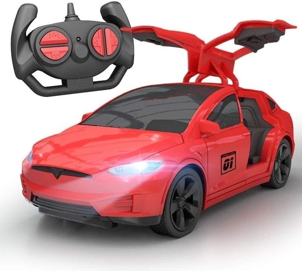 Tesla puede abrir la puerta 4 canales de control remoto de coches con la linterna recargable de la deriva del coche de deportes fuerte de los caballos de fuerza Niños control remoto inalámbrico Racing