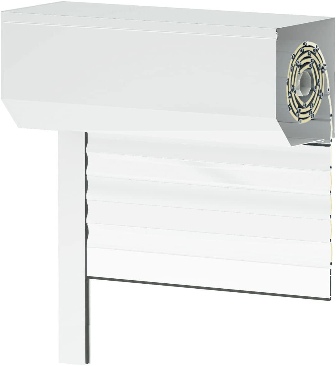 Bedienseite: Links, Vorbaurollladen Typ Corner Anthrazit 39mm Aluminium-Lamelle 85x130cm mit Gurtwickler /ähnlich RAL 7016 als Ma/ßanfertigung