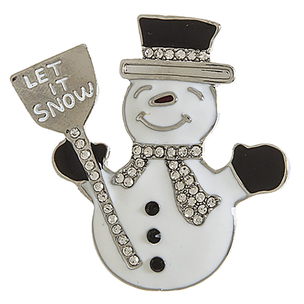 ACCESSORIESFOREVER Christmas Jewelry Holiday Crystal Rhinestone Snowman Fashion Brooch BH218 SV