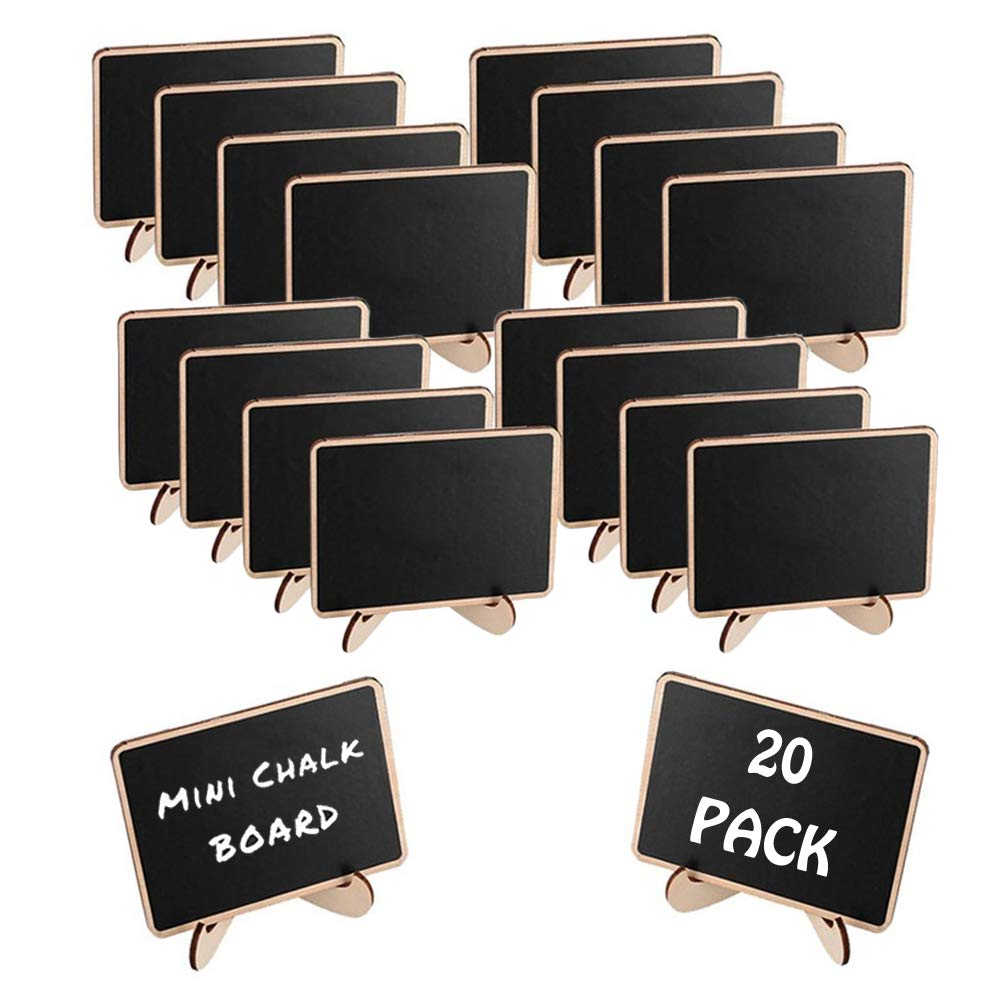 TRADERPLUS 20 Pcs Mini Chalkboards Blackboard with Stand for Weddings, Parties, Table Numbers, Food Signs and Special Event Decoration by TRADERPLUS