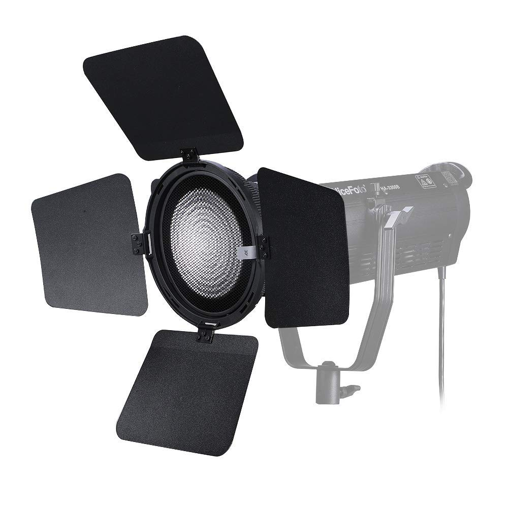 NiceFoto FD-110 Fresnel Lens LED Video Light Focusing Adjuster Floodlight 45° Spotlight 17° with Lights Honeycomb Grids Barn Doors for Aputure Nicefoto and Other Bowen-S Mount by NiceFoto (Image #4)