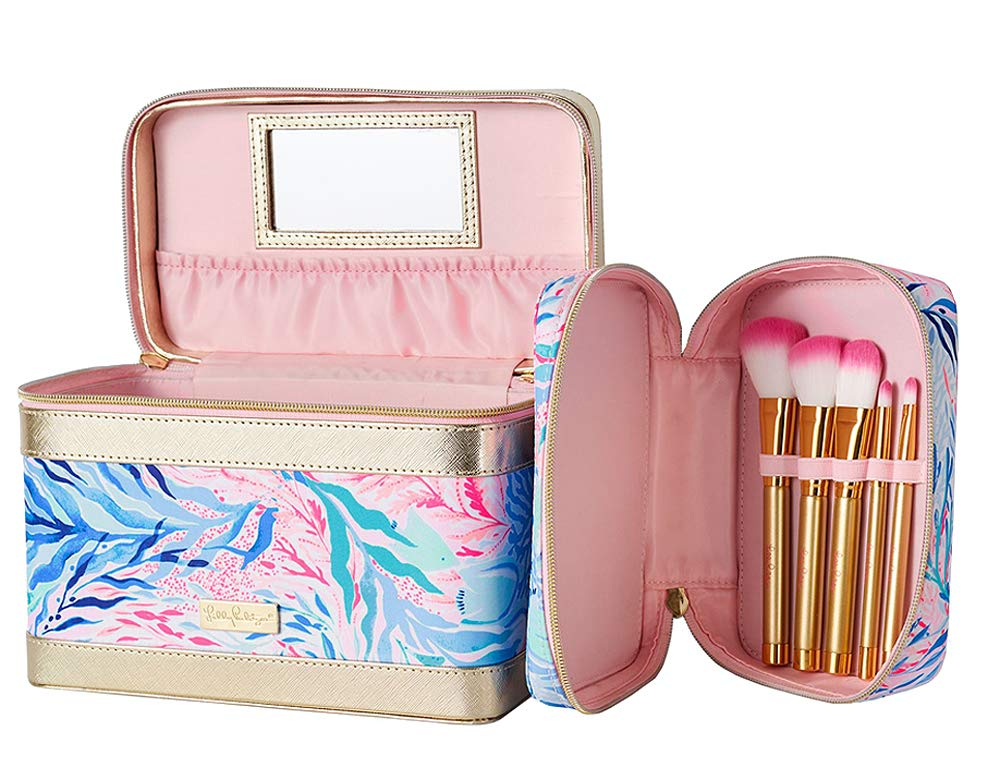 Lilly Pulitzer - Cosmetic Train Case With Brushes - Kaleidoscope Coral
