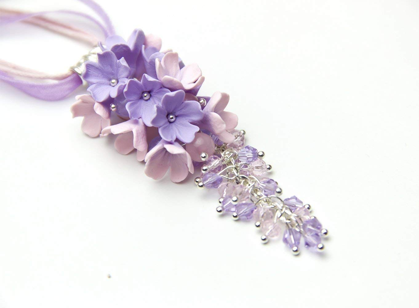 Polymer Clay Spring Hortensia Flowers. Handmade JEWLERY Turquoise and light purple pastel COLORS Romantic Floral Bead Necklace