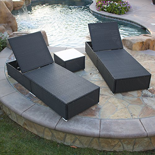 Belleze rattan wicker aluminum 3 pc chaise lounge chair w for Black outdoor wicker chaise