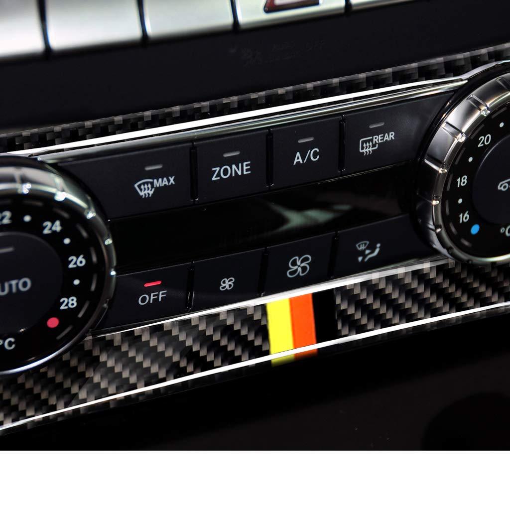 CD Media Control Frame Trim, Germany Flag Carbon Fiber Interior Decoration Decal Frame Cover Trim For Mercedes-Benz C-Class W204 2010-2013