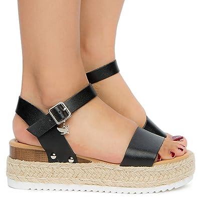 d7edb1879c5d Image Unavailable. Image not available for. Color  Shiekh Women s Platform  Sandal Sandal - Black PU ...