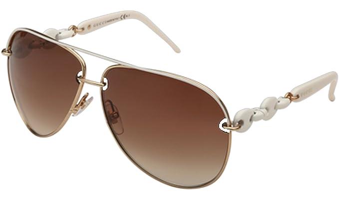 Gucci Chain Effect Temple Aviator Sunglasses in Ice Gold GG 4225S WQC 42 63  63 Brown Gradient  Amazon.fr  Vêtements et accessoires 721d4b0aca77