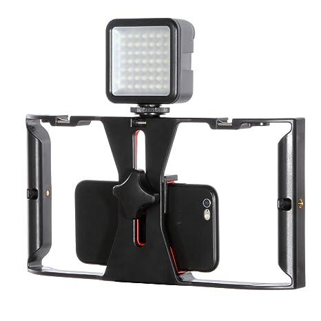 Ruili - Jaula de vídeo para teléfono móvil con luz de vídeo LED ...