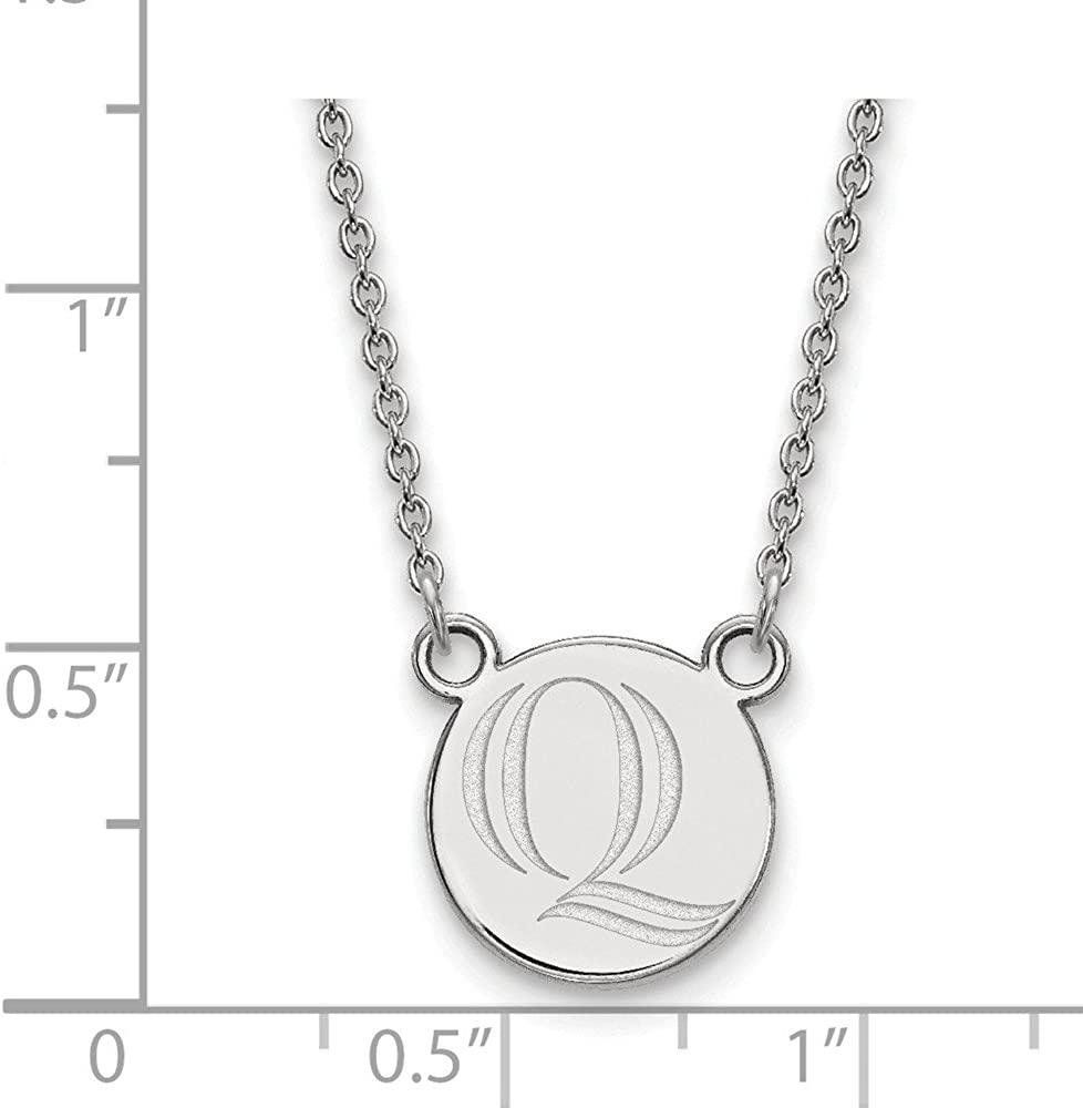 Quinnipiac Blue Cz Circle Necklace in Sterling Silver