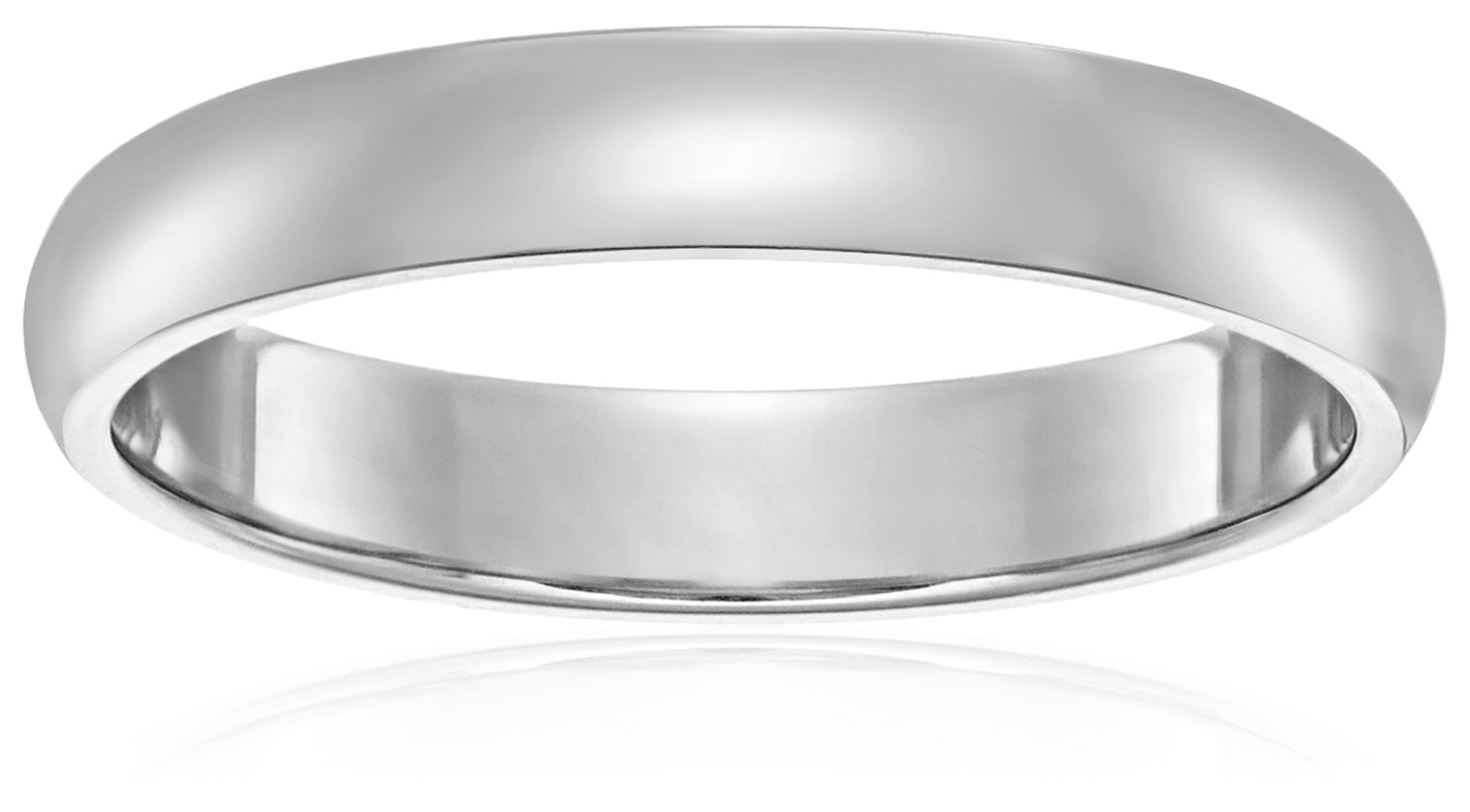 Light Comfort-Fit 14K White Gold Band, 4mm, Size 8.5