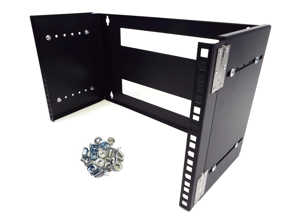 CNAweb 6U 19-Inch Hinged Extendable Wall Mount Bracket Network Equipment Rack - Black