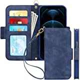 Skycase Compatible for iPhone 12 Pro Max Case 5G,[RFID Blocking] Handmade Flip Folio Wallet Case with Card Slots and Detachab