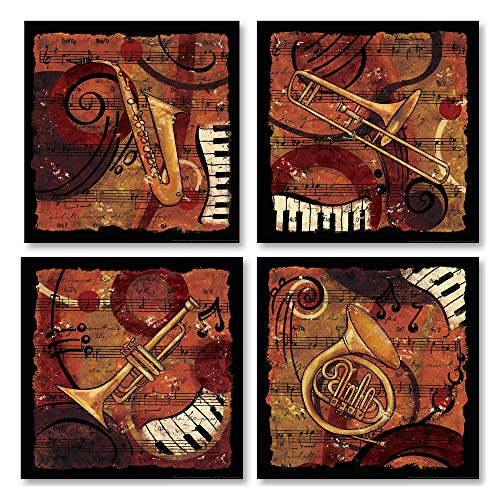 Gango Home Decor Jazz Music I Classic, Retro Trumpet, Sax, Trombone Band Four 8 by 8-Inch Mounted Prints Ready to Hang