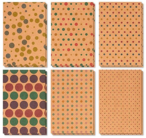 36 Pack All Occasion Assorted Blank Note Cards Greeting Cards Bulk Box Set - 6 Kraft Polka Dot Designs - Blank on the Inside Notecards with Envelopes Included - 4 x 6 Inches