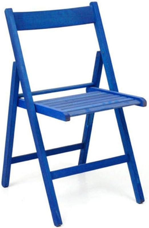 Incluye 4 sillas plegables cervecería Silla de madera pintadas de colores diferentes plegable para acampada casa o jardín BLEU: Amazon.es: Hogar