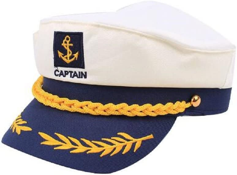 Adults Outdoor Cotton Sailor Ship Boat Captain Hat Navy Marins Admiral Cap TY