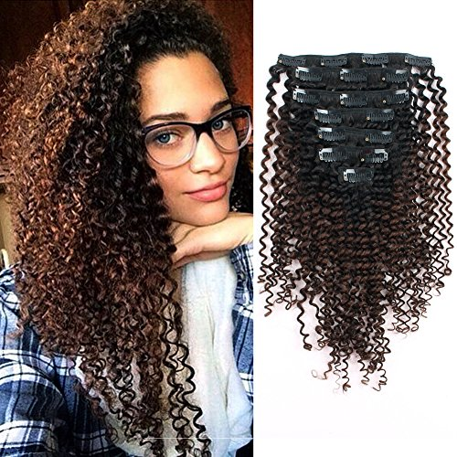 : Sassina Thickness Double Wefts Clip In Extensions For African American Black Women Kinky Curly 3C 4A 1B Off Black Fading into Light Chocolate Brown 7 Pieces/Set 17 Clips KC 1BT4# 16 Inch