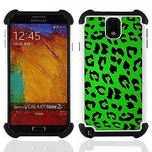 - leopard pattern green black design style/ H??brido 3in1 Deluxe Impreso duro Soft Alto Impacto caja de la armadura Defender - SHIMIN CAO - For Samsung Galaxy Note3 N9000 N9008V N9009