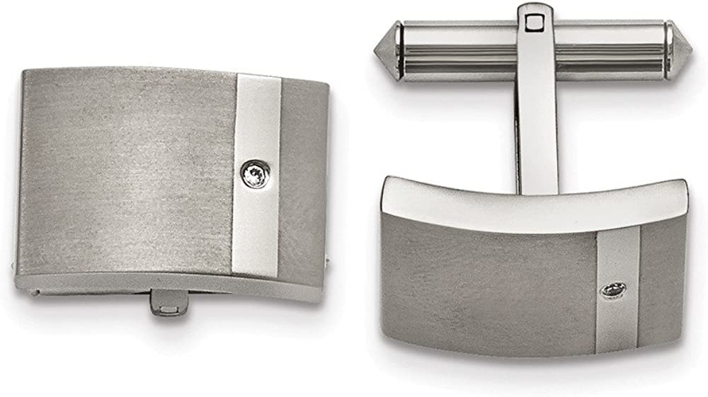 Best Designer Jewelry Titanium Brushed and Polished Clear CZ Cuff Links