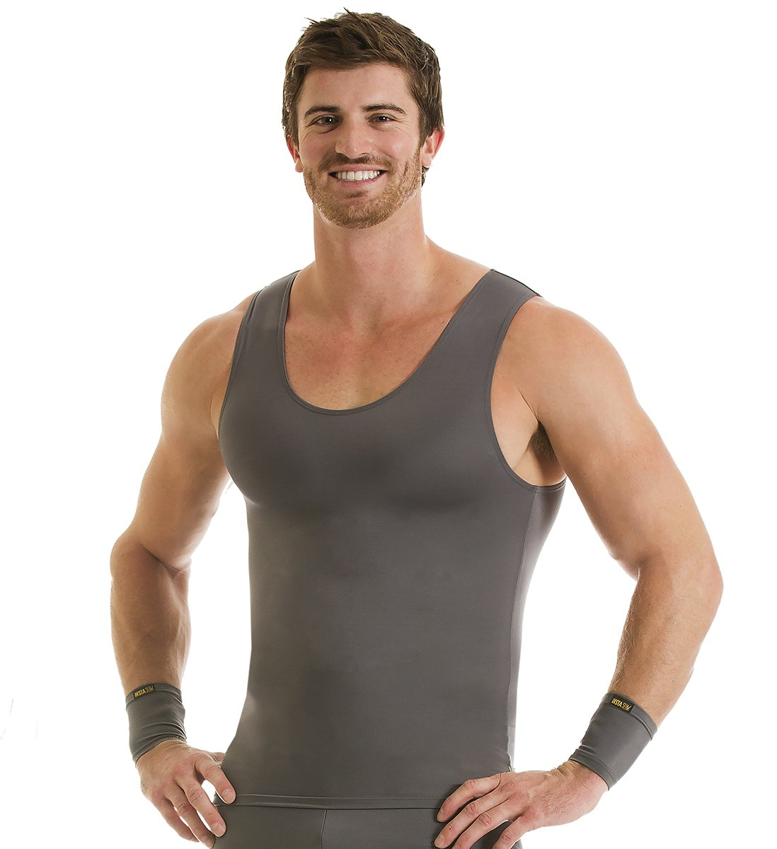 Insta Slim 3 Pack Muscle Tank, Look Up to 5 Inches Slimmer Instantly, Grey, Large, The Magic is in The Fabric!