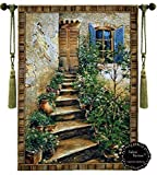 European Stairway Villa Tuscan Tapestry Jacquard Woven Wall Hanging Tapestry (Yw009) (46''x64'')