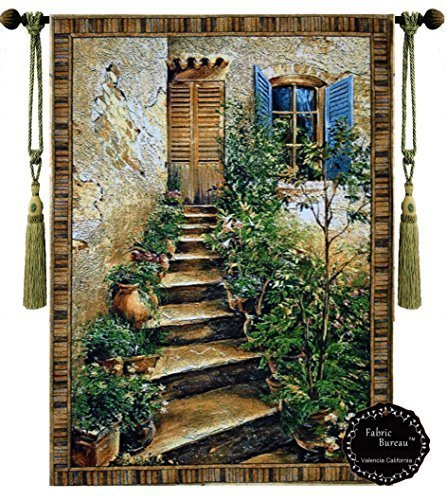 Decor Plus European Stairway Villa Tuscan Tapestry Jacquard Woven Wall Hanging Tapestry (Yw009) (46